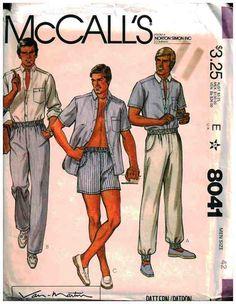 McCall's Sewing Pattern 8041 Mens Shirt, Pants, Shorts Size: 42 Uncut