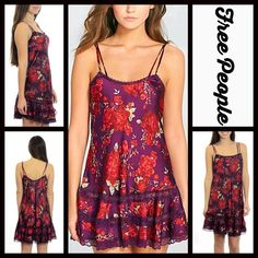 "FREE PEOPLE Boho Floral Slip Mini Dress Lace RETAIL PRICE: $88 NEW WITH TAGS   FREE PEOPLE Boho Satin Slip Dress Lace    * A-Line, V-neck, & thin straps.    * Beautiful eyelet lace, floral print.    * Pullover style & a relaxed fit   * It measures about 34"" long; Chest measures about 42"" around; Party , cocktail , Prom , homecoming  * A satin like floral fabric.    Fabric: Nylon Blend Color: Plum Deep Lilac Purple Red   No Trades ✅Fair Offers Considered*/Bundle Discounts✅  *Please use the…"