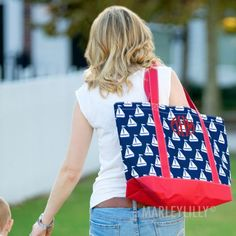Monogrammed Sail Away Boat Tote