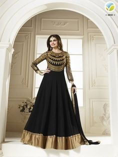 Black embroidered georgette semi stitched salwar with dupatta - Friends and co - 814998
