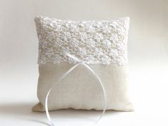 Holiday SALE / LACE Ring Bearer Pillow / Outdoor / by LulueFrufru, $26.00