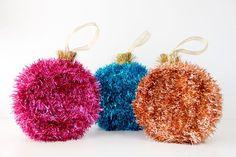 Studio DIY | DIY Tinsel Ornament Piñatas  Could also stuff garland in clear ornaments