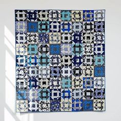 """This is another free pattern just posted on our website! The Indigo Dash quilt is made entirely out of Bluebird, our collaborative blue and white collection released earlier this year. Link in bio, click """"patterns"""" at the top! #cottonandsteel #bluebirdfabric #quilting #freepattern #churndashquilt"""