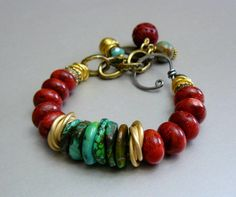 Islands Charm Bracelet with Natural Turquoise, Coral and Gold