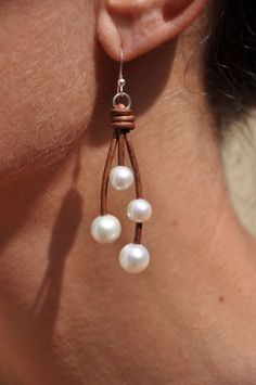 Freshwater Pearls and Leather 4 Pearl Earrings - White Pearl on Brown Leather…