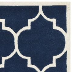 Safavieh Chatham Collection CHT733C Handmade Dark Blue and Ivory Wool Area Rug, 4 feet by 6 feet (4′ x 6′)