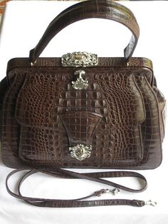 Ann Turk Brown Leather  Embossed Alligator Look Purse with Optional Shoulder Strap