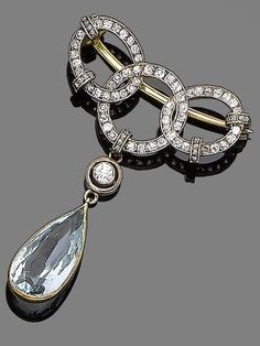 An Aquamarine and Diamond Brooch circa 1900.