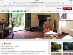 Cottage to rent, castle, cooking classes- https://www.montaltointoscana.com/en/rentals/3-la-scuola.html