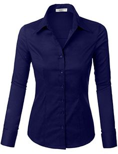 LE3NO Womens Lightweight Button Down Shirt with Stretch L...