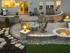 stairs, firepit, paver patio with travertine, Back Yards, Patio ...