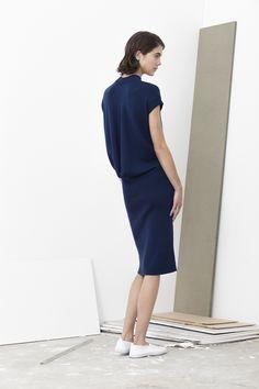 Murphy merino wool cowl back dress with cape sleeves