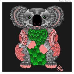 Kayla the Koala by Jamie #teazel #teazelcoloring #coloring #colouring #Koala - picture from Teazel's Coloring App