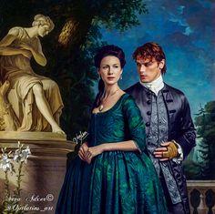 Outlander season 2. Magnifique photo avec ses camaïeux de bleus. Il manque Murtagh.