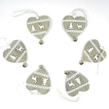 reindeer Christmas decoration wood heart with small bell hanging decor free shipping Christmas decoration for home