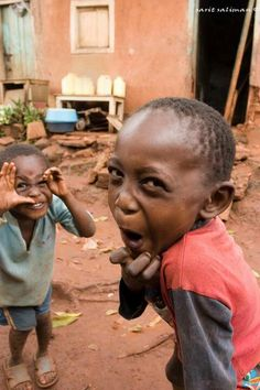 Smiling little boys, Africa.