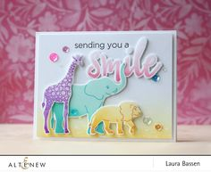 Look at this adorable card! The animal stamps  used are so cute and colorful that you will have a smile on your face. Visit our blog to learn more about this project. http://altenewblog.com/2016/11/29/video-multi-inking-baby-zoo-stamp-set/ Altenew Website: https://altenew.com/