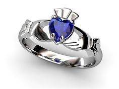 Claddagh Ring - SAPPHIRE 14K White Gold SAPPHIRE Claddagh Ring. Ring is designed for petite hands so it is only available in sizes from 4 through 9 with half size increments.