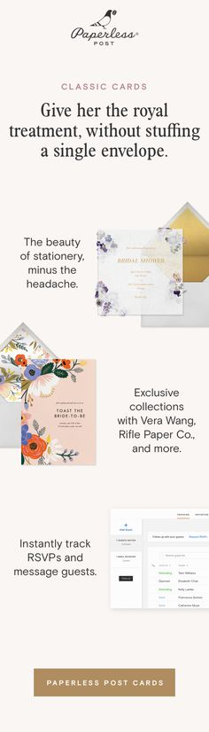 Send a virtual bridal shower invitation to celebrate the bride-to-be. Add a gift registry, track RSVPs, and message guests on the go. Online Invitations, Bridal Shower Invitations, Paperless Post, Kelly Wearstler, Tool Design, Newlyweds, Rsvp, Bliss, Anthropologie