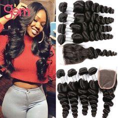 7A Malaysian Loose Wave 4 bundles with closure Ali moda Malaysian Virgin Hair Loose Wave with Lace Closure GEM Human Hair Weave