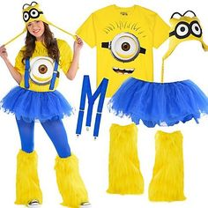 Be despicably you as one of Gru's cute minions! Minion shirts & peruvian hats go great with solid blue & yellow tights, tutus, suspenders & leg warmers! Minion Halloween Costumes, Halloween Kostüm, Holidays Halloween, Adult Minion Costume, Minion Shirts, Minion Birthday, Happy Birthday, Birthday Parties, Minion Party