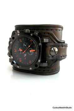 Leather Watch Cuff Men's watch Leather by CuckooNestArtStudio not feeling the Orange but love the idea