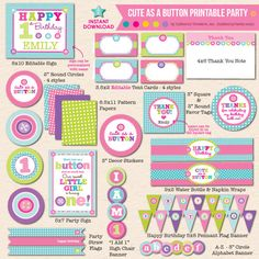 INSTANT DOWNLOAD! Cute as a Button First Birthday Party - DIY/Printable Complete Party Pack on Etsy, $29.00