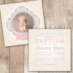 Vintage Elegance - Custom Baptism Baby Dedication First Communion Christening Announcement or Invitation for boy or girl by KimNelsonCreative on Etsy https://www.etsy.com/listing/176565703/vintage-elegance-custom-baptism-baby