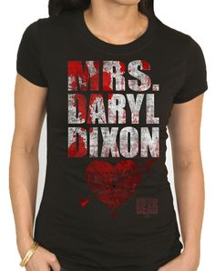 Write yourself into your favorite TV show when you wear this officially licensed Walking Dead Mrs Daryl Dixon Adult Womens T-Shirt. The AMC original TV series shirt features white screen printed lettering with blood spatter graphics.