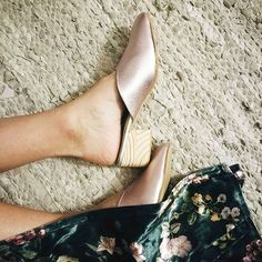 b8d5c4ebc839 Lazing about with LaLa Mules. The most lovely handmade wooden heel and  beautiful metallic pink