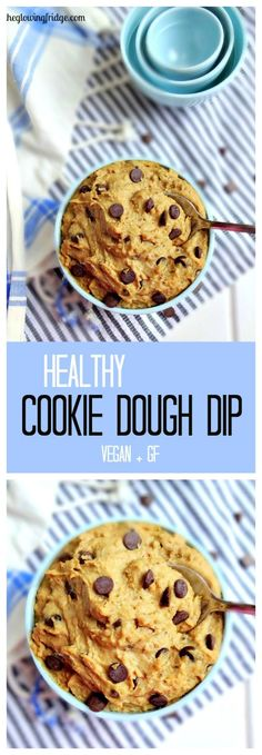 Healthy Cookie Dough Dip - vegan, nut-free, gluten free and tastes like the real deal!