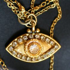 Crystal and Gold Evil Eye Necklace by MichalGolanJewelry on Etsy