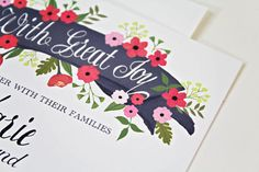 Hand Painted Floral Wedding Invitation with by BeholdDesignz