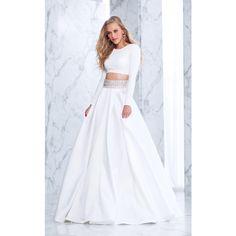Tarik Ediz 50052 White and Ivory Dress Long High Neckline Long Sleeve ($858) ❤ liked on Polyvore featuring dresses, gowns, vestidos, wedding dress, black, formal dresses, long gown, long formal gowns, long sleeve prom dresses and long formal evening gowns