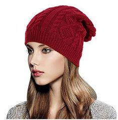 56f2a03bfb9 Glamorstar Women Cable Knit Beanie Winter Warm Crochet Hats Chunky Stretch  Ski Cap AcrylicKnitted Hats Material  Premium and soft acrylic fibres