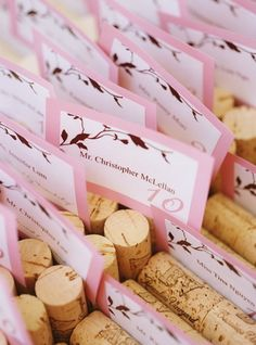 Reception, Pink, Decor, Brown, Wedding, And, Vineyard, Wine corks