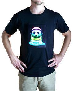 Space Panda Animated LED T-Shirt-Burning Man, Tomorrowworld, Christmas, Costume, Holiday