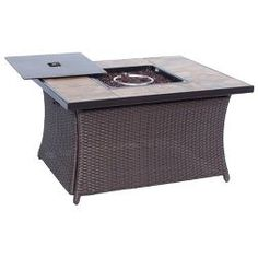 Woven Fire Pit Coffee Table With 40,000 Btu And Porcelain Tile Top - Brown - Hanover