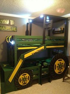 Bulldozer twin bunk beds in green and gold