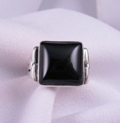 Square Black Onyx Silver Ring sz11 sz13-1/2, Orville Tsinnie