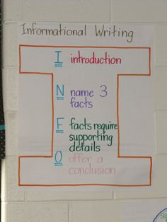 Informational writing anchor chart  Pinned from PinTo for iPad 