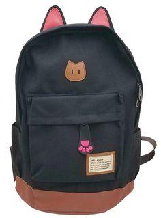 a2faf200da80 Best School Backpacks · AM Landen Black Super Cute CAT Ears Backpack School  Bag Travel Backpack  AMLanden  CatEarLaptopBackpack