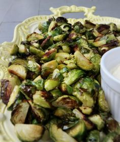 Roasted Brussels Sprouts With Lemon Garlic Dip - The Glamorous Housewife