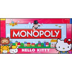 MONOPOLY: Hello Kitty Collector's Edition Hello Kitty brings a sweet style to America's favorite board game in this special Collector's Edition of the MONOPOLY game. Enter Hello Kitty's world as you buy, sell and trade locations in her hometown of London Hello Kitty Games, Sanrio Hello Kitty, Monopoly Game, Monopoly Board, Classic Board Games, Fist Bump, Hello Kitty Collection, 80s Kids, Cat Toys