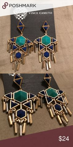 Vince Camuto Classic Maya Earrings Vince Camuto Classic Maya Earring. Turquoise and deep blue stones with gold and silver shiny fringe. Brand new, never worn. Vince Camuto Jewelry Earrings