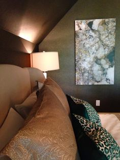 Get to the #RVADesignerHouse before it's too late. Tomorrow, 10/13/14 is the LAST day! Check out Michael Levin Maszaros' Cabin Creek Interiors bedroom-masculine NYC Chic with a little James Bond thrown in! Check out the remote controlled window shade too! Geode art photography and photograph both by photographer, Jami Carlton.