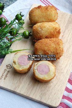 감자핫도그 / 건강하게 먹는 아이들간식 감자로만든 감자핫도그 / 감자요리 : 네이버 블로그