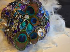 DEPOSIT  Peacock Feather Themed Brooch Bouquet with by DecoraMood, $100.00