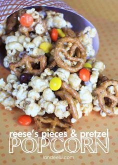 Reese's Pieces & Pretzel Popcorn Recipe - super yummy!