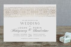 """""""Bond"""" - Elegant, Classical Foil-pressed Wedding Invitations in Gold by Phrosne Ras. Classic Wedding Invitations, Wedding Stationary, Timeless Wedding, Holiday Photo Cards, Save The Date Cards, Wedding Decorations, Reception, Place Card Holders, Bond"""
